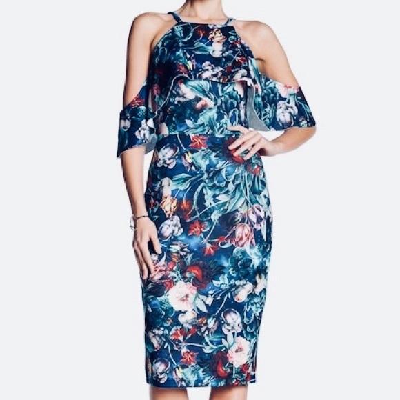 2b879aeb6d6 Alexia Admor Floral Cold-Shoulder Midi Dress